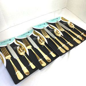 Towle 4 Place Stainless Steel Gold Silverware  NWT